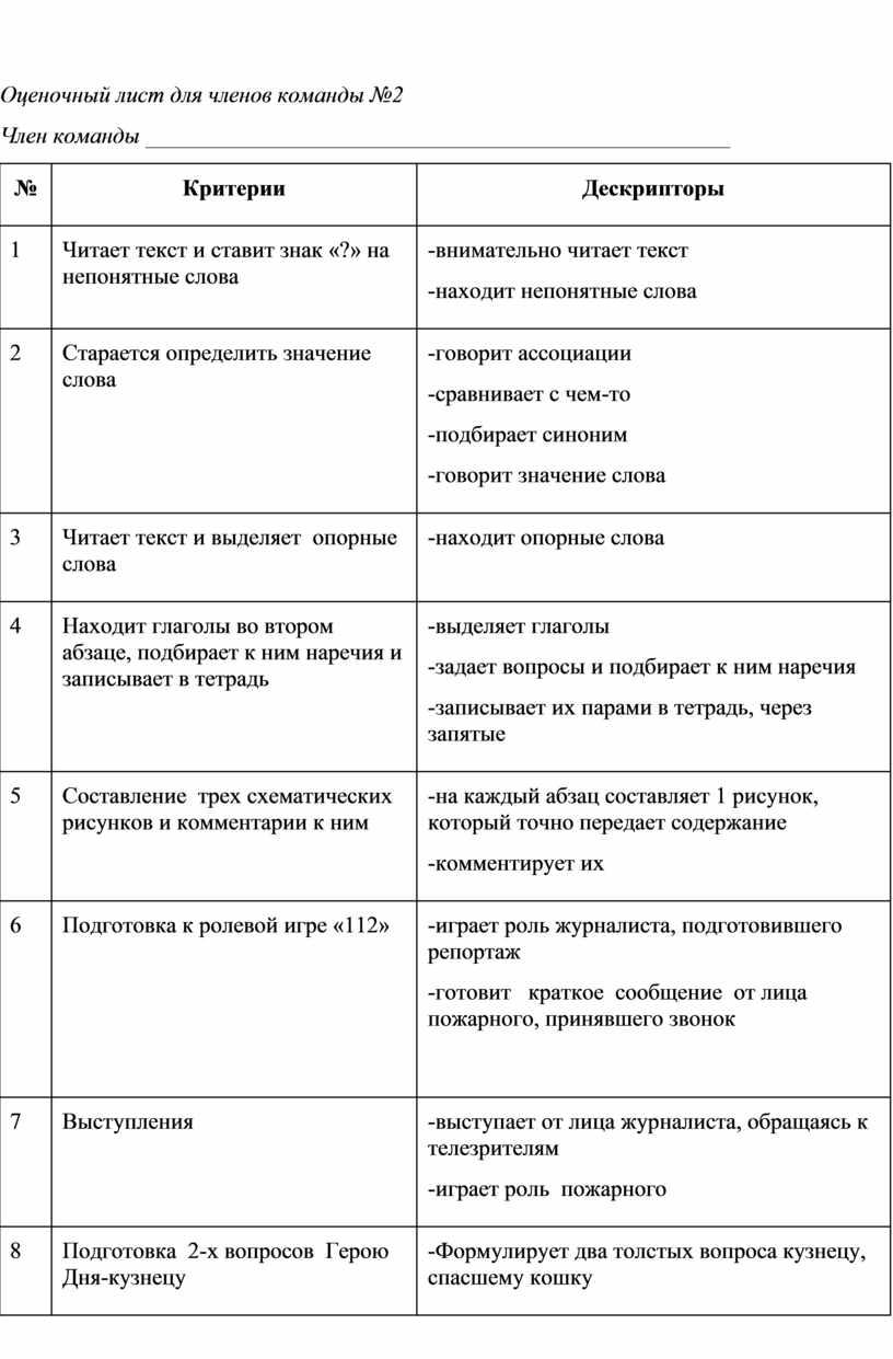 Оценочный лист для членов команды №2