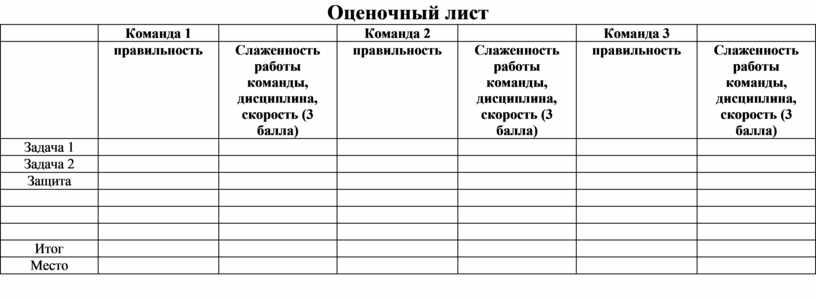 Оценочный лист Команда 1