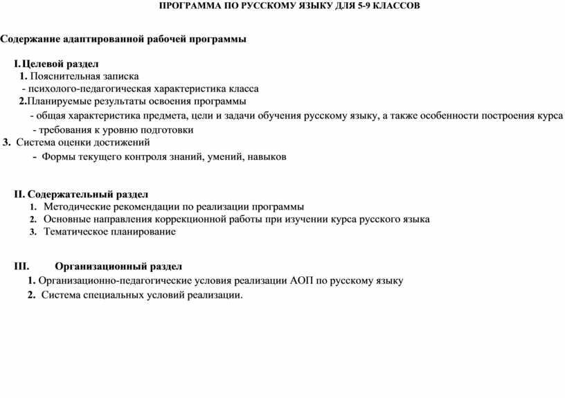 ПРОГРАММА ПО РУССКОМУ ЯЗЫКУ ДЛЯ 5-9