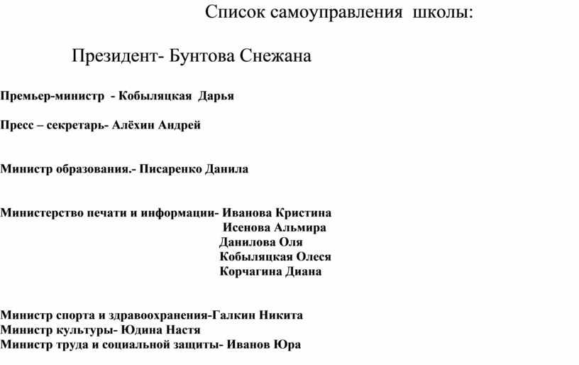 Список самоуправления школы: