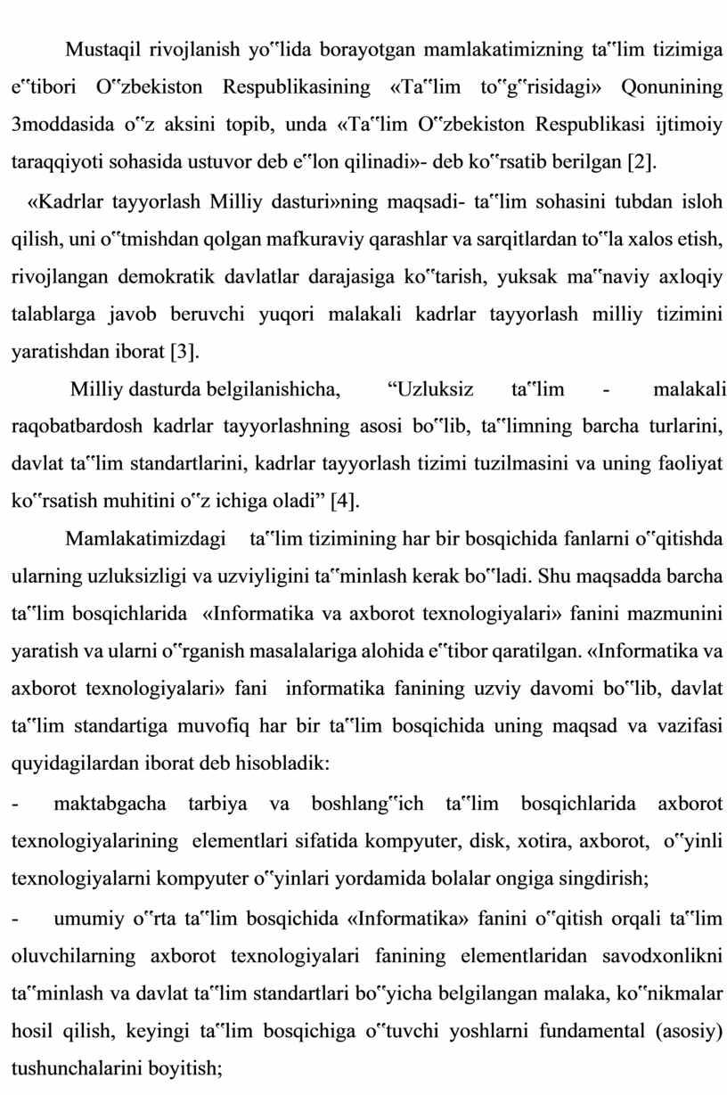 """Mustaqil rivojlanish yo""""lida borayotgan mamlakatimizning ta""""lim tizimiga e""""tibori"""