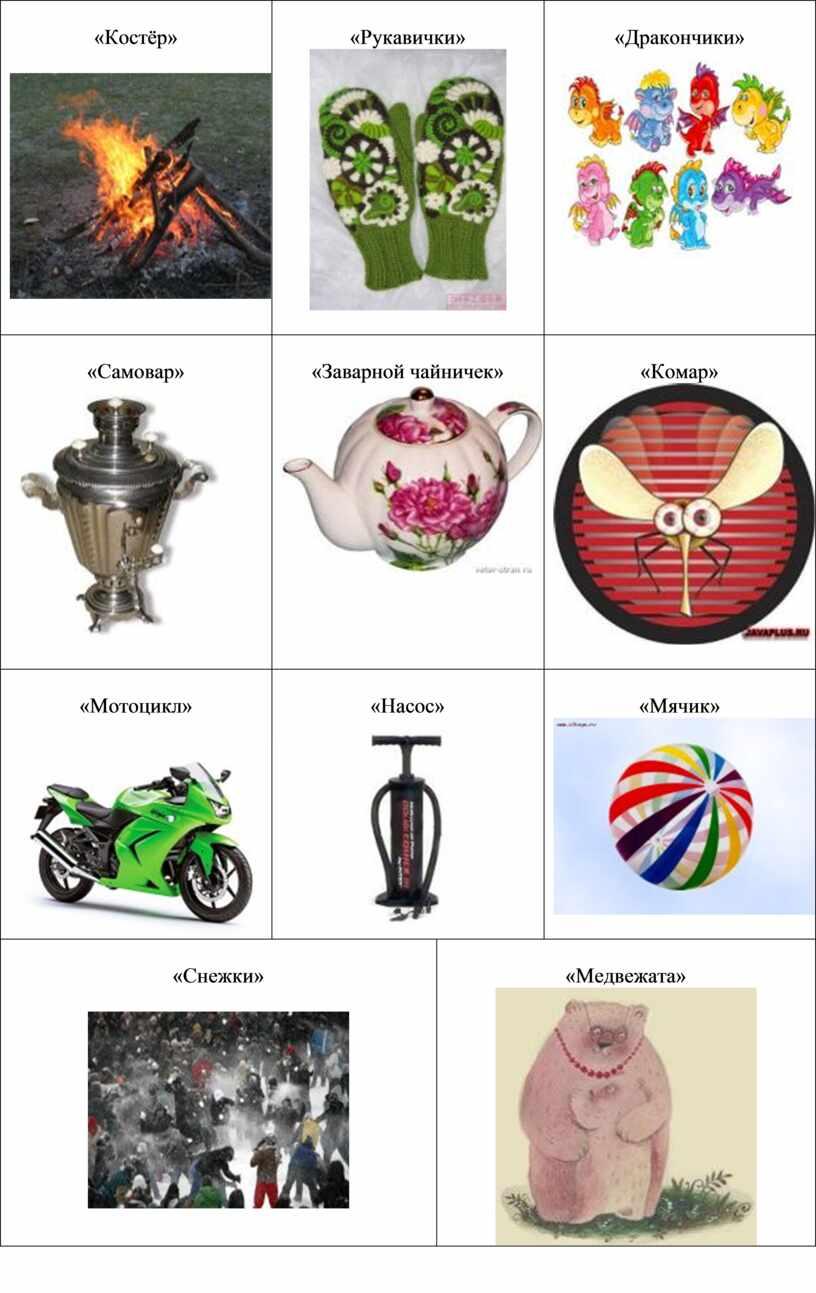 Костёр» «Рукавички» «Дракончики» «Самовар» «Заварной чайничек» «Комар» «Мотоцикл» «Насос» «Мячик» «Снежки» «Медвежата»