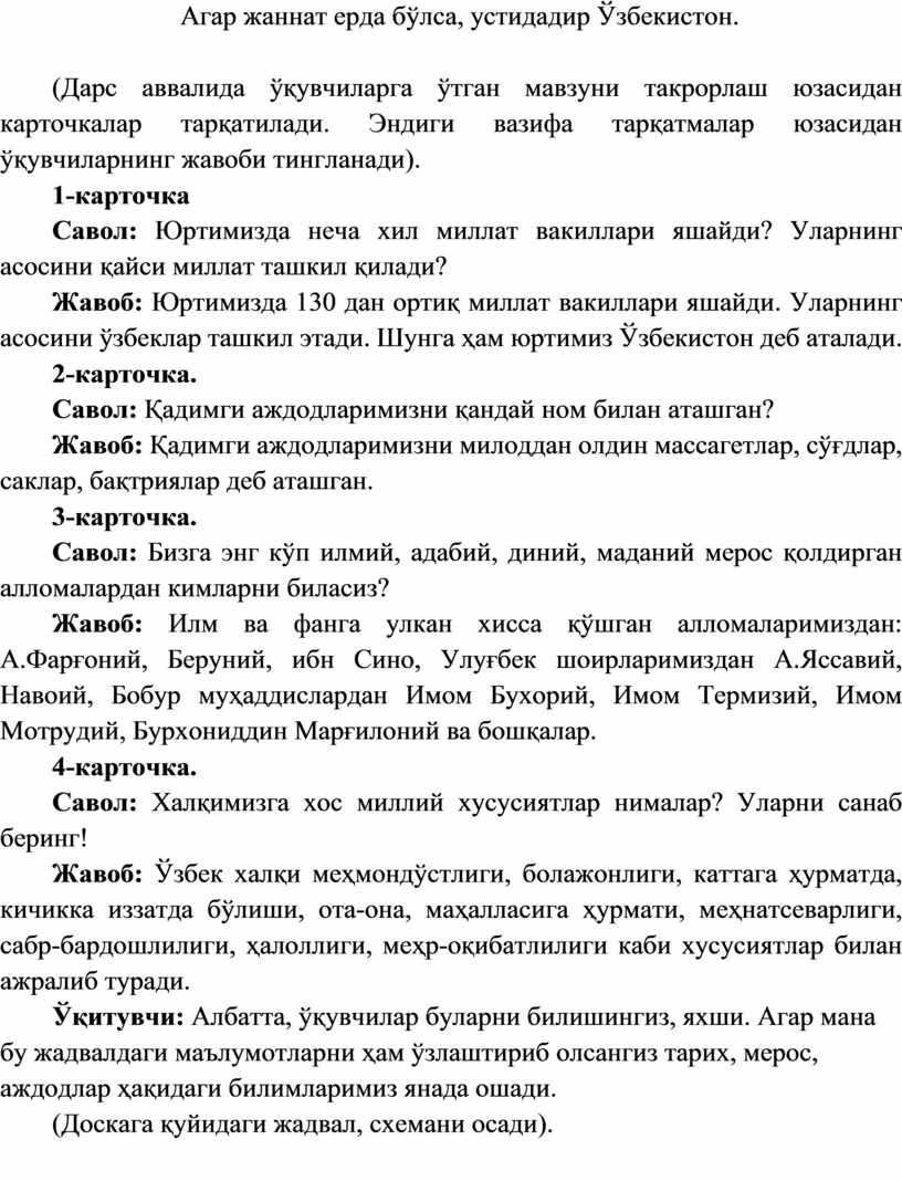 Агар жаннат ерда бўлса, устидадир Ўзбекистон