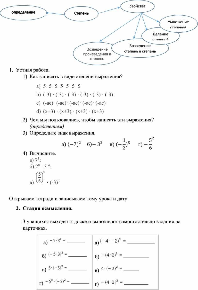 Устная работа. 1) Как записать в виде степени выражения? a) 5· 5· 5· 5· 5· 5· 5 b) (-3) · (-3) · (-3) · (-3)…