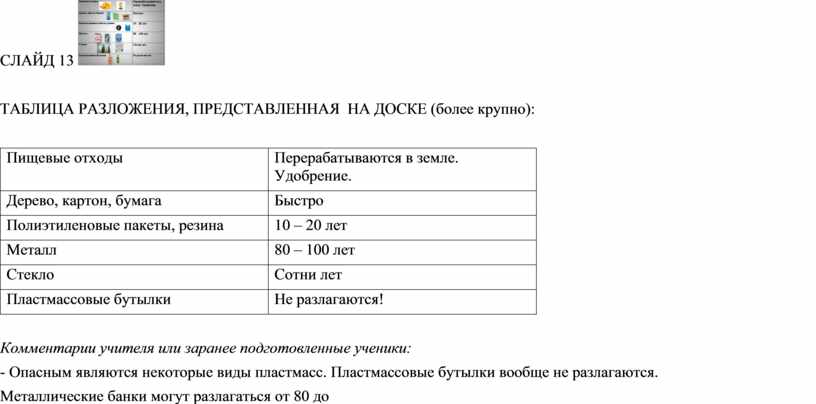 СЛАЙД 13 ТАБЛИЦА РАЗЛОЖЕНИЯ,