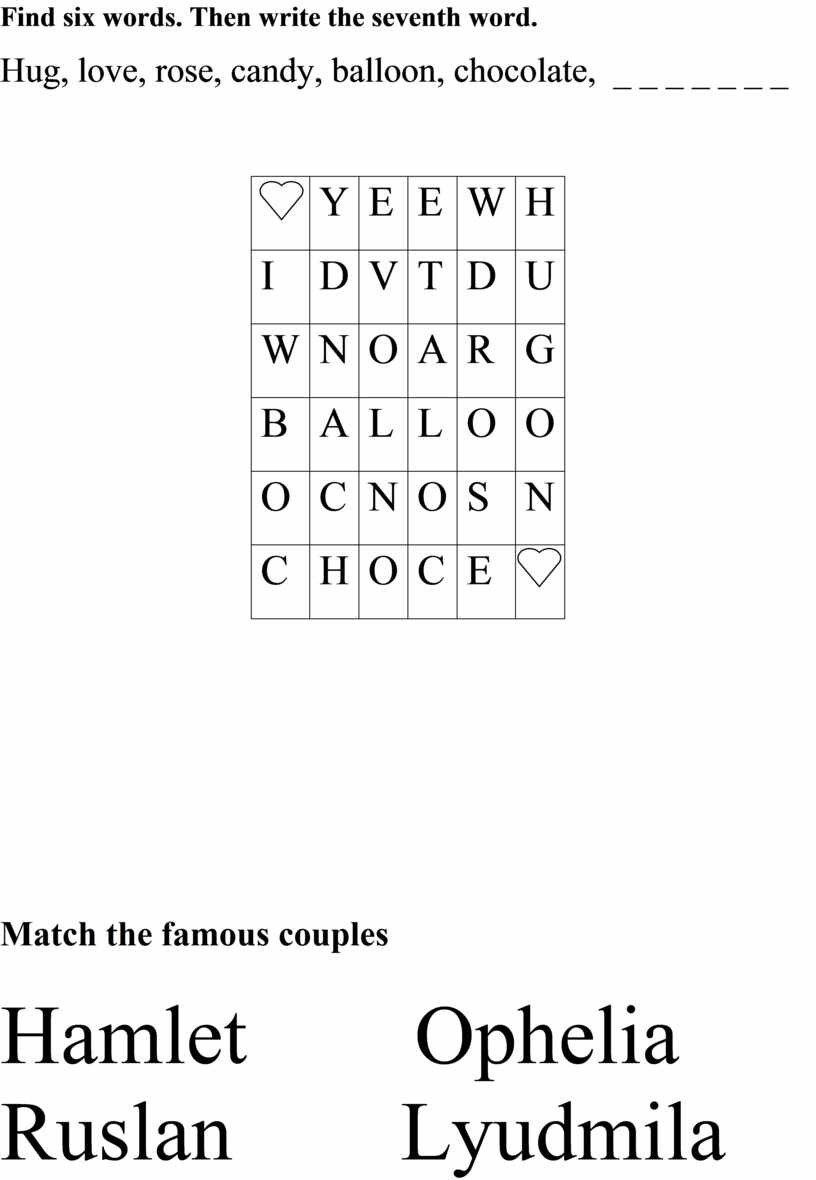 Find six words. Then write the seventh word