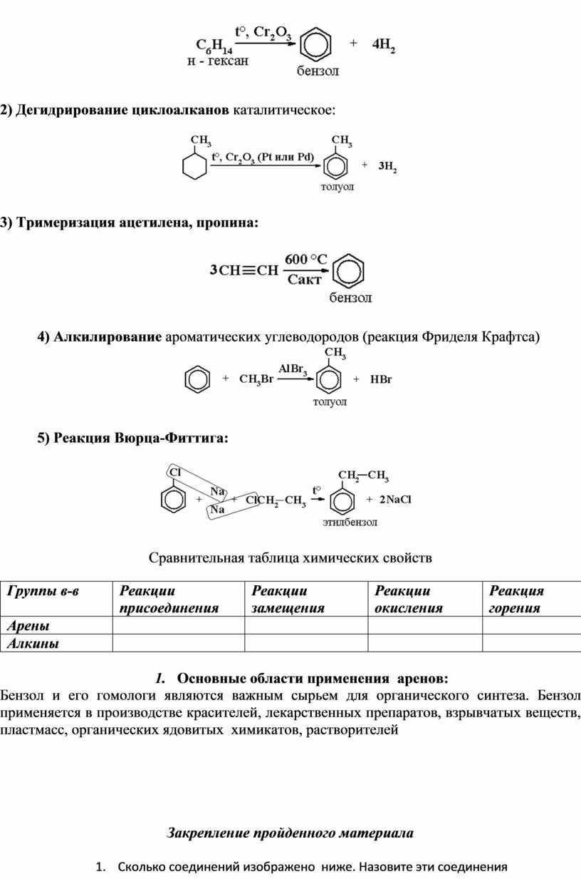Дегидрирование циклоалканов каталитическое: 3)