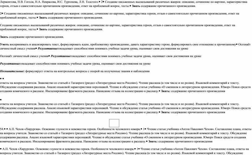 Лермонтова, Н.В. Гоголя, Н.А. Некрасова,