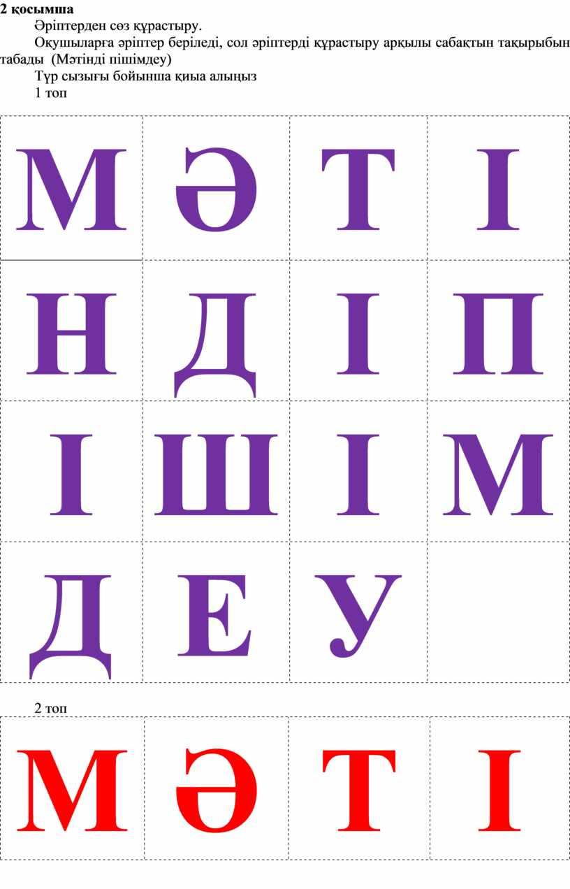 Оқушыларға әріптер беріледі, сол әріптерді құрастыру арқылы сабақтын тақырыбын табады (Мәтінді пішімдеу)