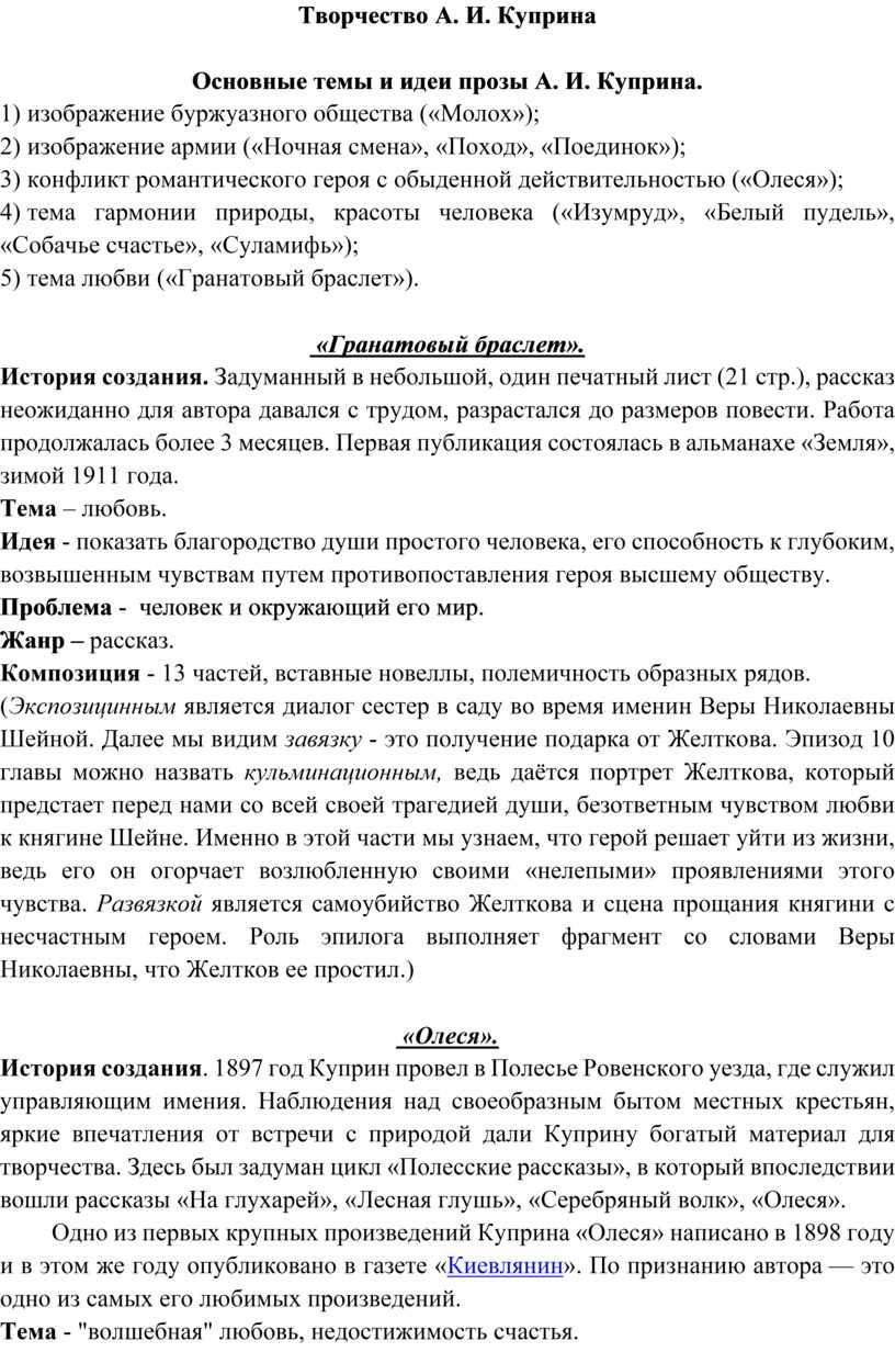 Творчество А. И. Куприна Основные темы и идеи прозы