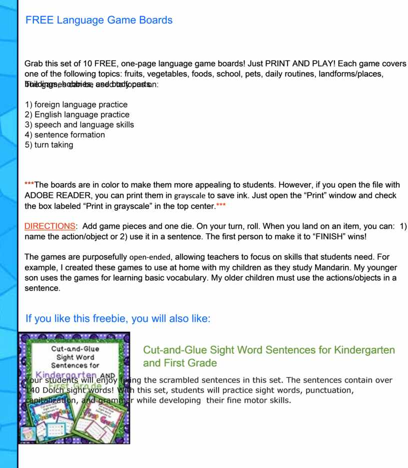 Grab this set of 10 FREE, one-page language game boards!