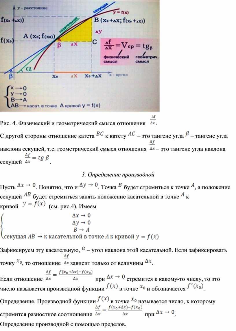 Рис. 4. Физический и геометрический смысл отношения