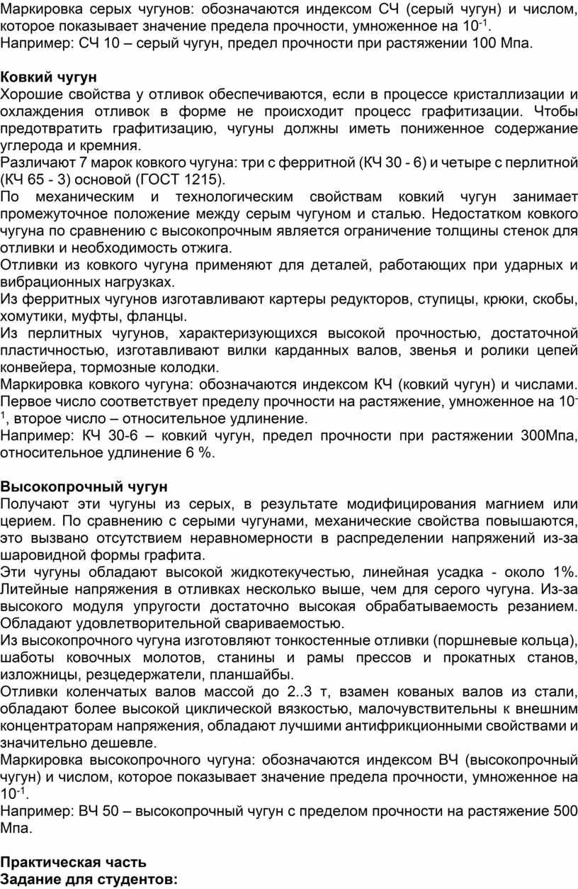 Маркировка серых чугунов: обозначаются индексом