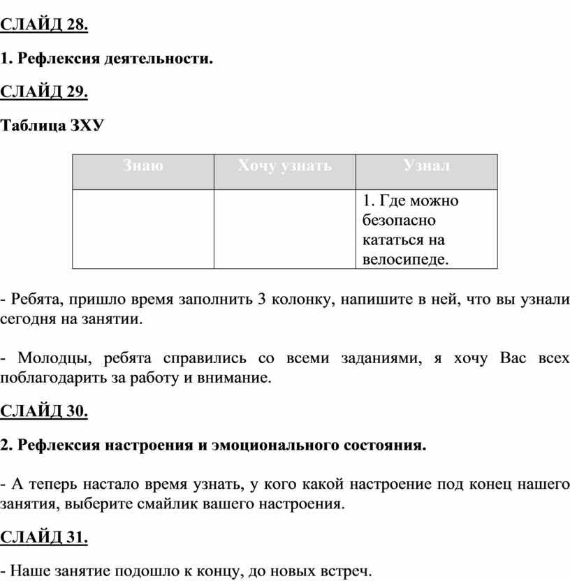 СЛАЙД 28. 1. Рефлексия деятельности