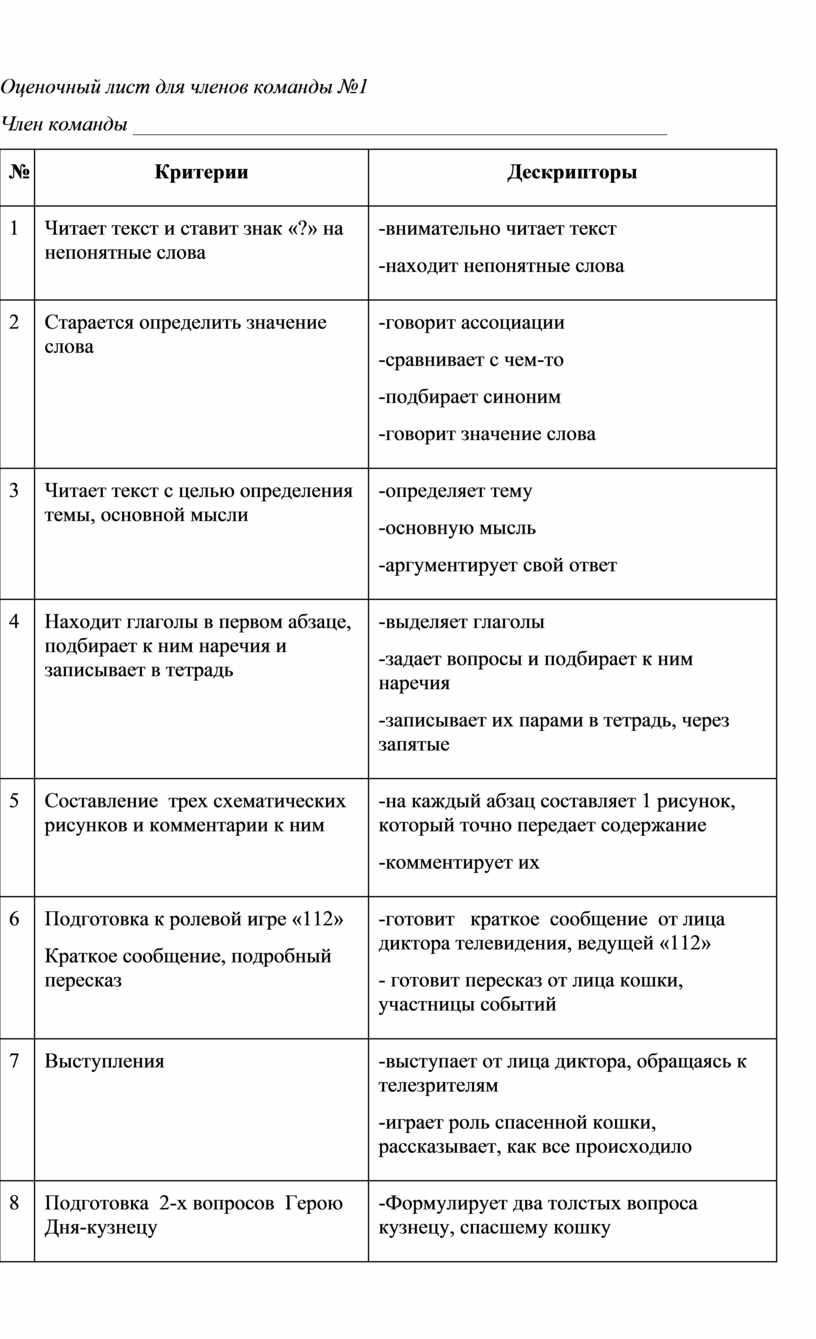 Оценочный лист для членов команды №1