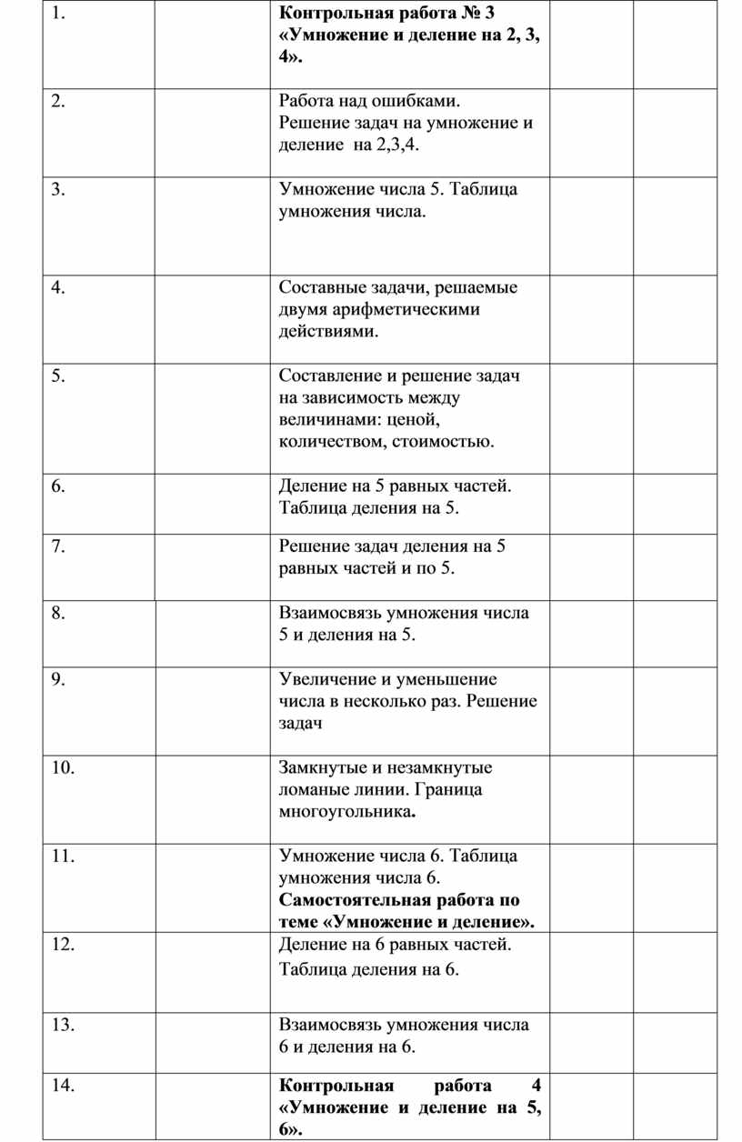 Контрольная работа № 3 «Умножение и деление на 2, 3, 4»