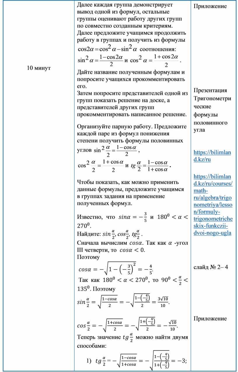 2Тригонометрия Формулы тригонометрии Краткосрочный план