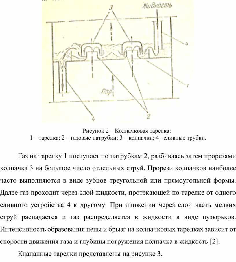 Рисунок 2 – Колпачковая тарелка: 1 – тарелка; 2 – газовые патрубки; 3 – колпачки; 4 –сливные трубки