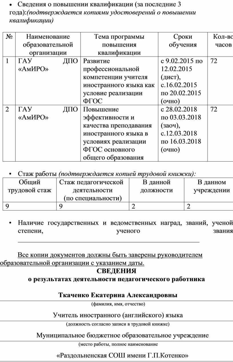 Сведения о повышении квалификации (за последние 3 года): (подтверждается копиями удостоверений о повышении квалификации) №