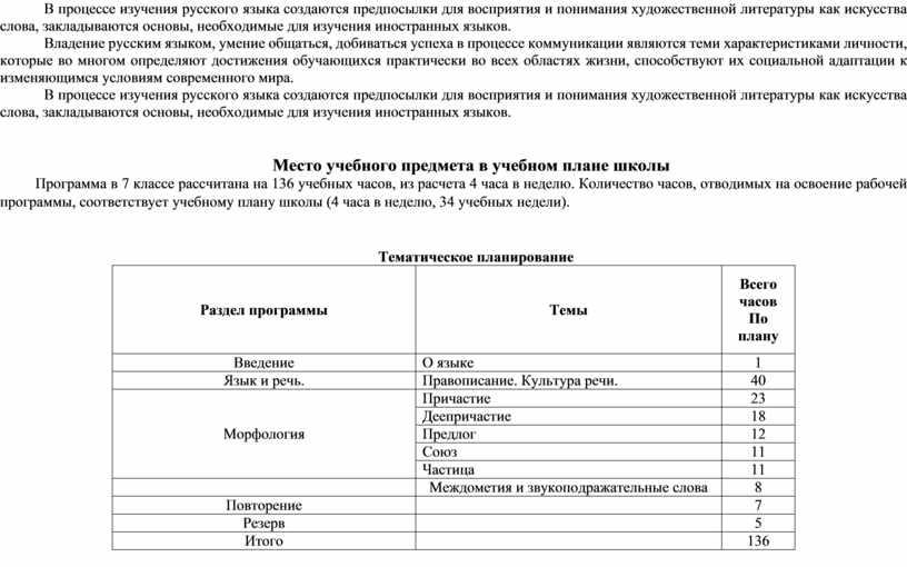 В процессе изучения русского языка создаются предпосылки для восприятия и понимания художественной литературы как искусства слова, закладываются основы, необходимые для изучения иностранных языков