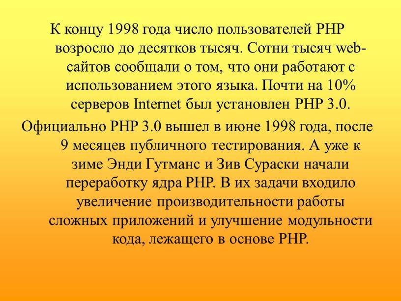 К концу 1998 года число пользователей