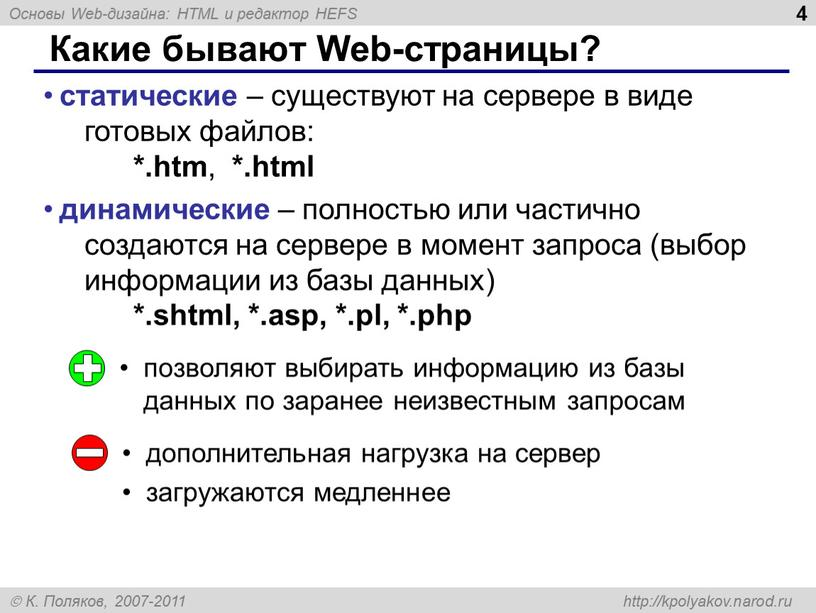 Какие бывают Web-страницы? статические – существуют на сервере в виде готовых файлов: *