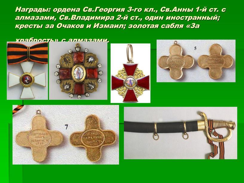 Награды: ордена Св.Георгия 3-го кл