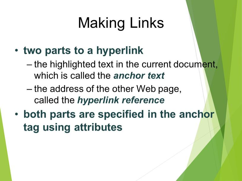 Making Links two parts to a hyperlink the highlighted text in the current document, which is called the anchor text the address of the other