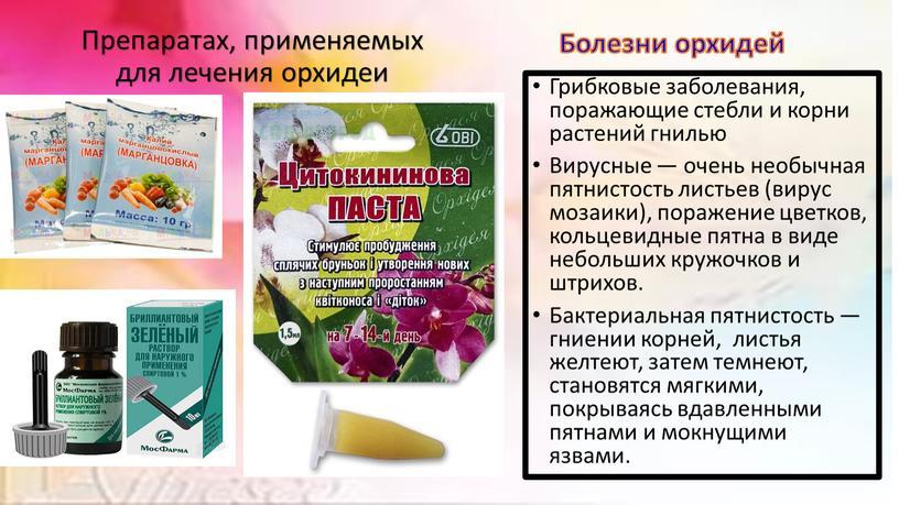 Препаратах, применяемых для лечения орхидеи