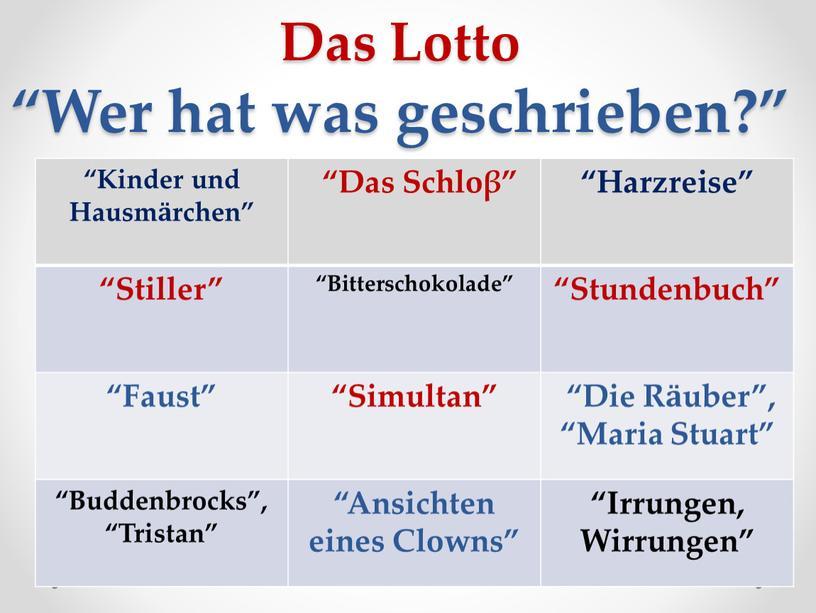 """Das Lotto """"Wer hat was geschrieben?"""" """"Kinder und"""