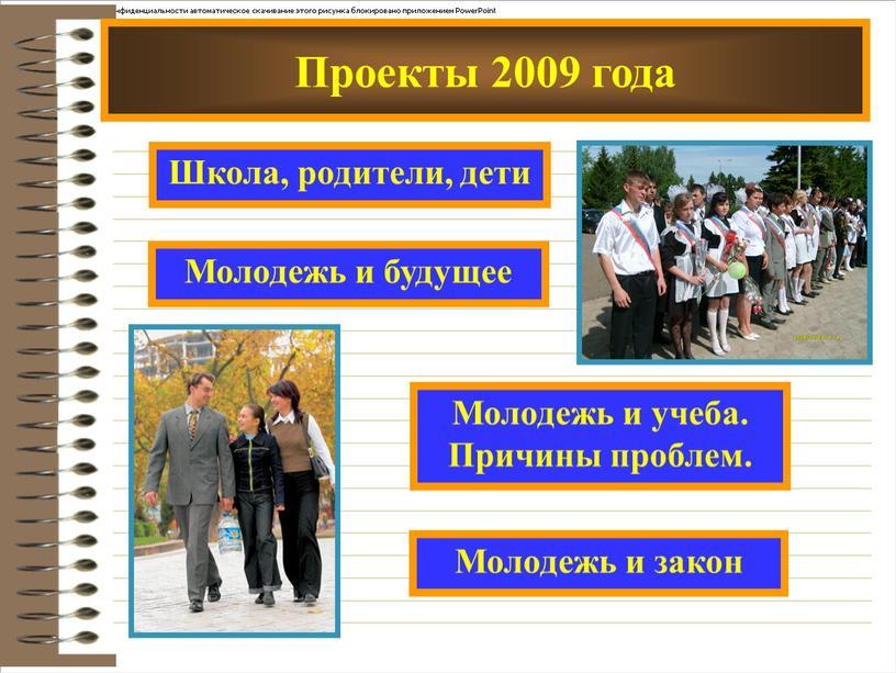 Проекты 2009 года Школа, родители, дети