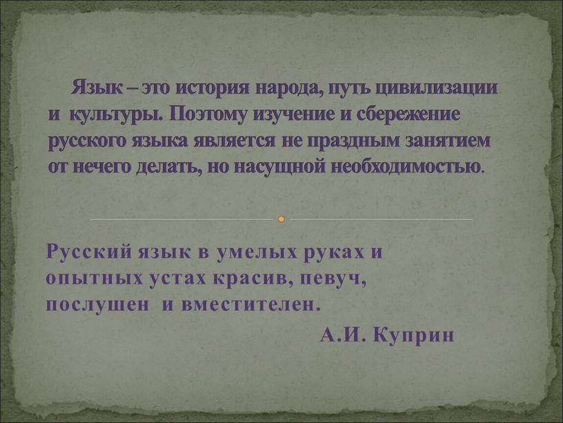 Русский язык в умелых руках и опытных устах красив, певуч, послушен и вместителен