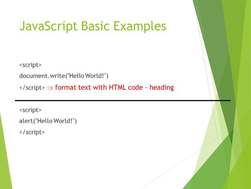 JavaScript Basic Examples <br>document