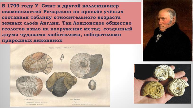 В 1799 году У. Смит и другой коллекционер окаменелостей