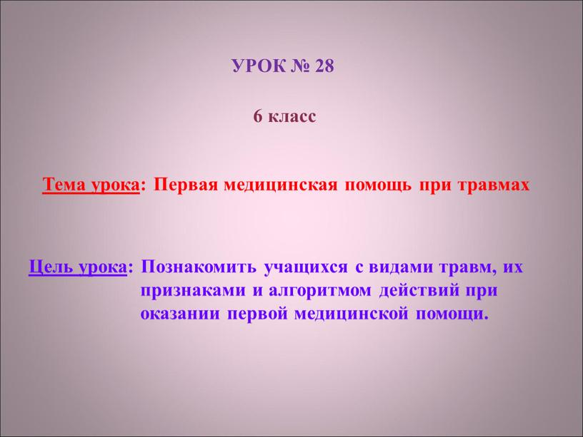 УРОК № 28 6 класс Тема урока :