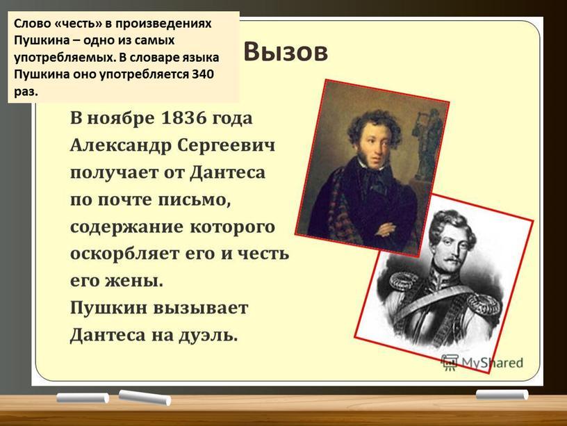 Слово «честь» в произведениях Пушкина – одно из самых употребляемых