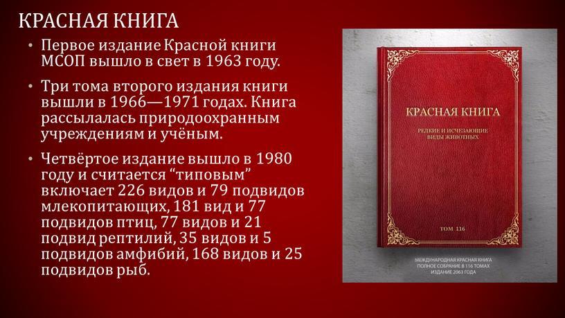 Красная книга Первое издание Красной книги