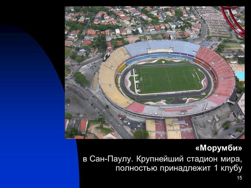 Морумби» в Сан-Паулу. Крупнейший стадион мира, полностью принадлежит 1 клубу