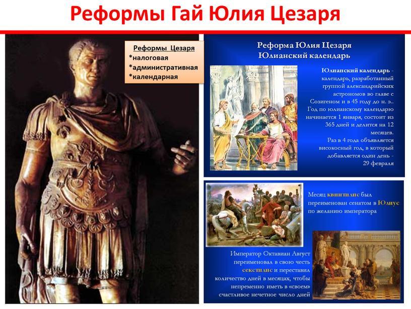 Реформы Гай Юлия Цезаря Реформы