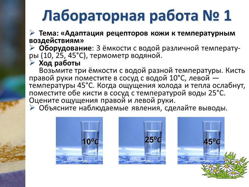 Лабораторная работа № 1 Тема: «Адаптация рецепторов кожи к температурным воздействиям»
