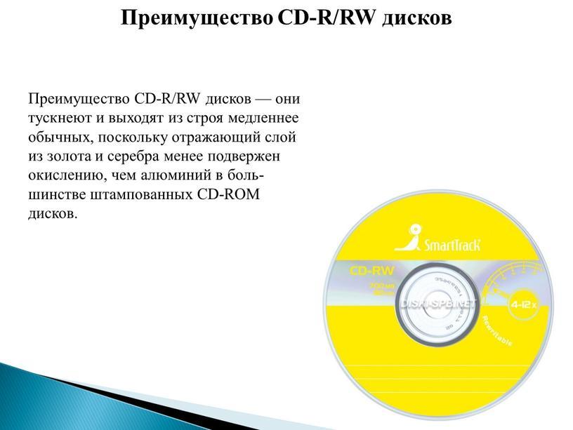 Преимущество CD-R/RW дисков Преимущество