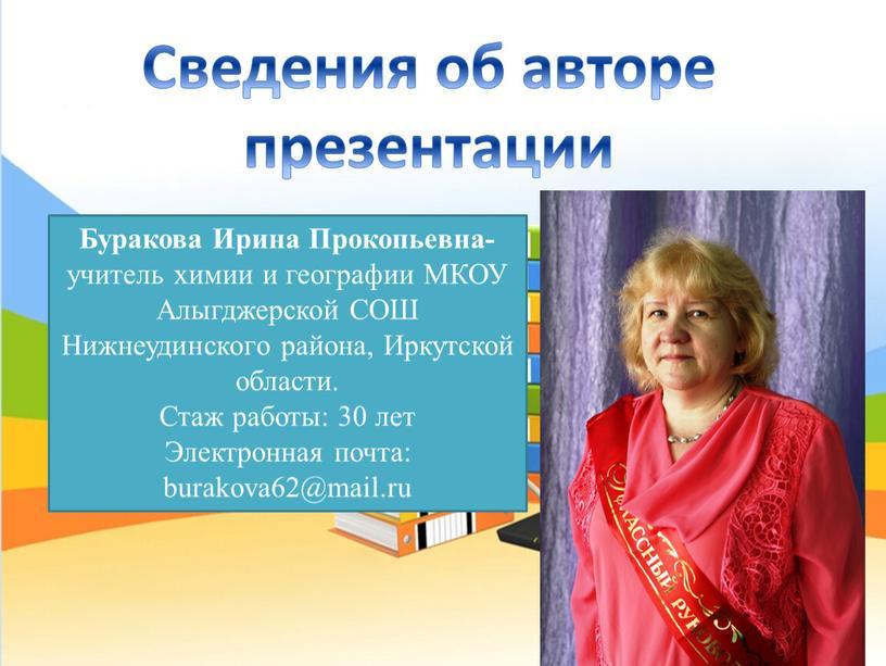 Сведения об авторе презентации