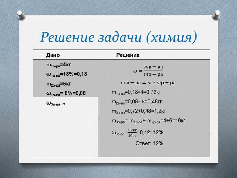 Решение задачи (химия) Дано