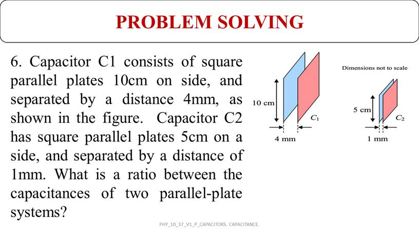 Capacitor C1 consists of square parallel plates 10cm on side, and separated by a distance 4mm, as shown in the figure