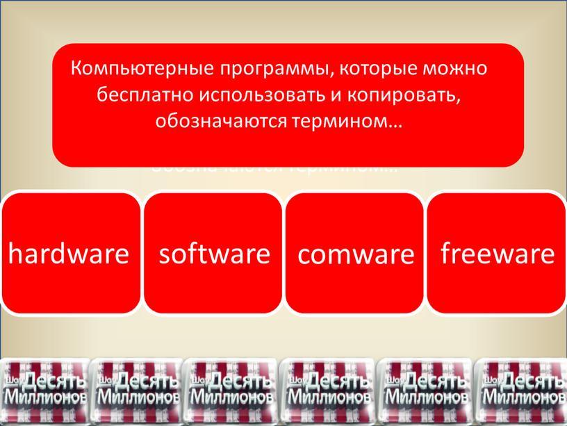 Компьютерные программы, которые можно бесплатно использовать и копировать, обозначаются термином…