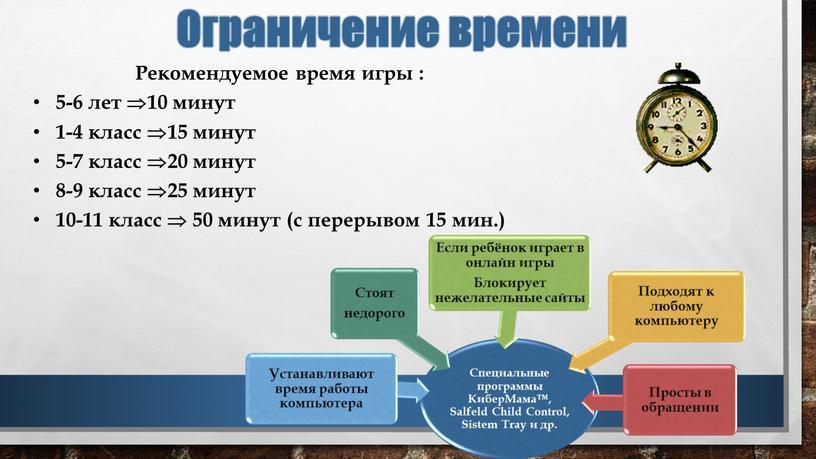 Рекомендуемое время игры : 5-6 лет 10 минут 1-4 класс 15 минут 5-7 класс 20 минут 8-9 класс 25 минут 10-11 класс  50 минут…