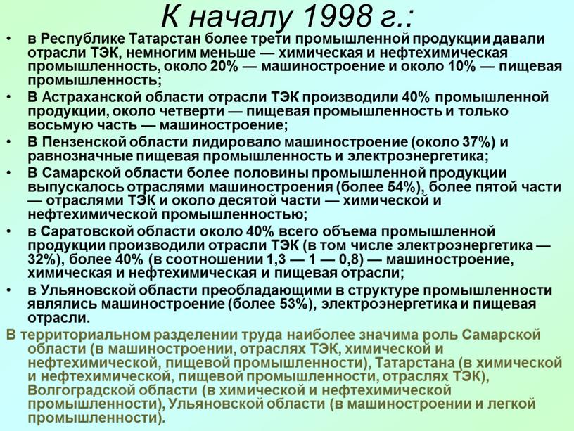 К началу 1998 г.: в Республике