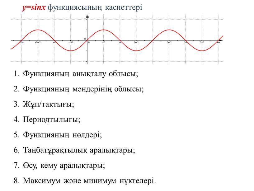 Функцияның анықталу облысы; Функцияның мәндерінің облысы;
