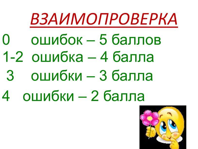 ВЗАИМОПРОВЕРКА 0 ошибок – 5 баллов 1-2 ошибка – 4 балла 3 ошибки – 3 балла 4 ошибки – 2 балла