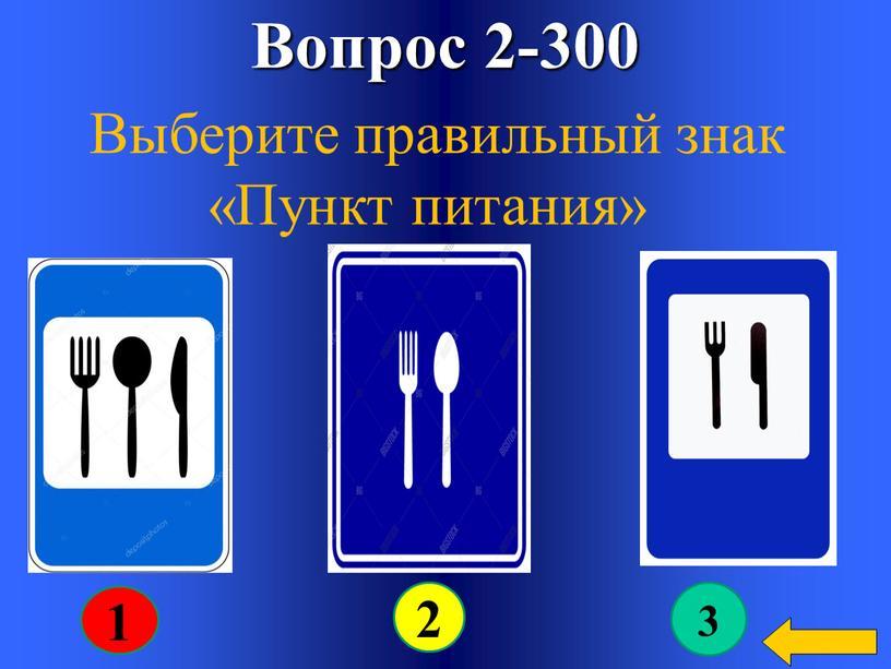 Вопрос 2-300 Выберите правильный знак «Пункт питания» 1 3 2